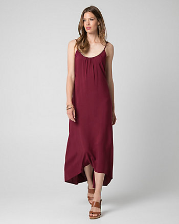 Challis Scoop Neck High-Low Dress
