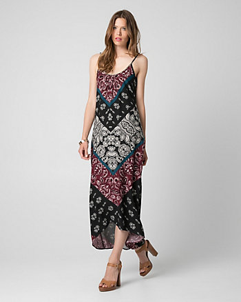 Printed Challis Scoop Neck Maxi Dress