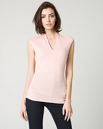 Jersey Built-Up V-Neck Top