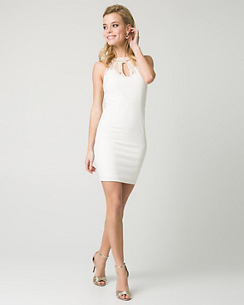 Double Knit Beaded Halter Neck Mini Dress