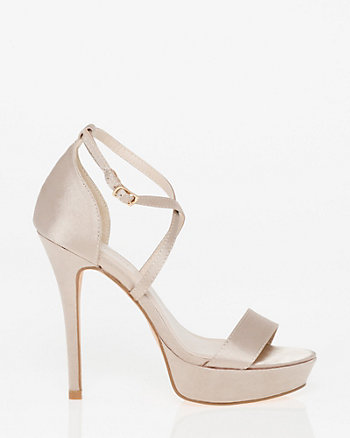 Satin Criss-Cross Platform Sandal