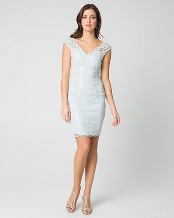 Lace & Sequin V-Neck Shift Dress