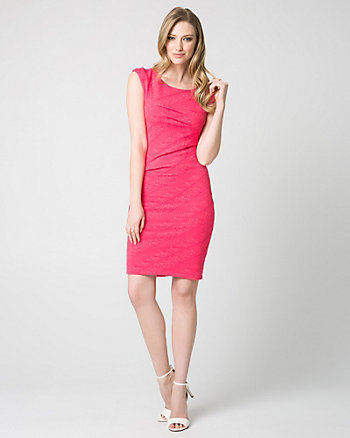 Jacquard Scoop Neck Shift Dress