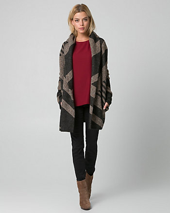 Geo Print Jacquard Sweater Coat