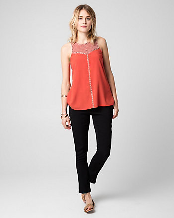 Embroidered Challis Crew Neck Blouse