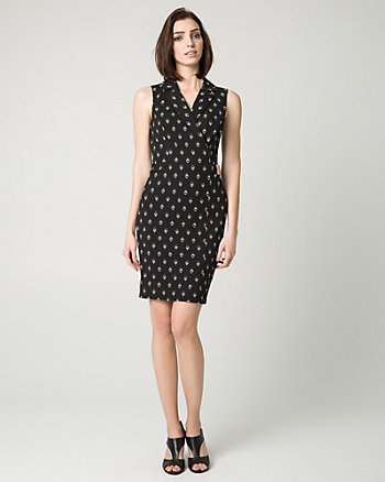 Tribal Print Knit Notch Collar Shirtdress