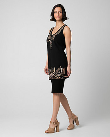 Embroidered Crêpe de Chine V-Neck Tunic