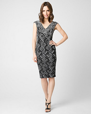 Geo Print Ponte V-Neck Shift Dress