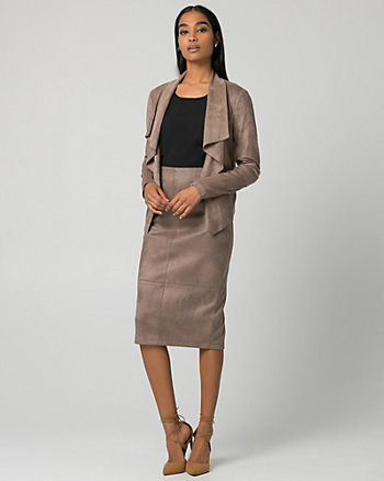 Suede-Like Open-Front Throwover
