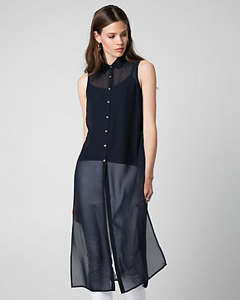 Chiffon Button-Front Slit Tunic