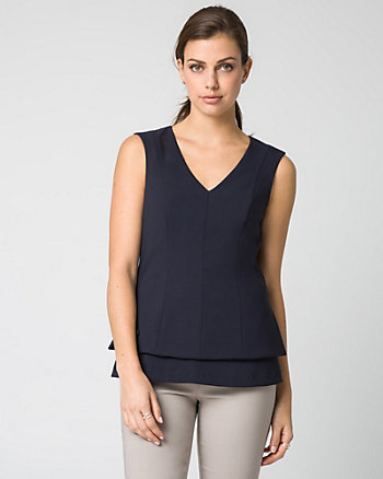 Stretch Twill Peplum Top