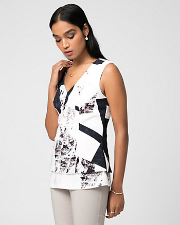 Abstract Print Stretch Twill Peplum Top