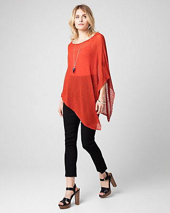 Open-Stitch Asymmetrical Poncho
