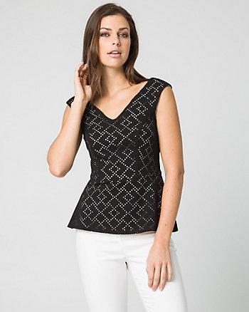 Laser Cut Stretch Piqué Peplum Top