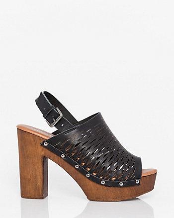Italian-Made Leather Slingback Clog