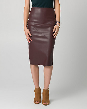 Leather-Like Midi Pencil Skirt