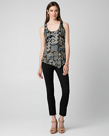 Abstract Print Challis Asymmetrical Blouse