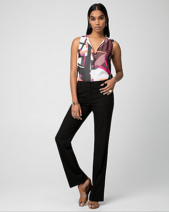 Abstract Print Chiffon V-Neck Blouse