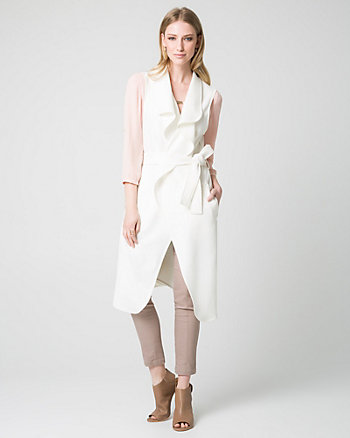 Double Weave Belted Long Vest