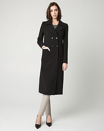 Viscose Blend Double Breasted Coat