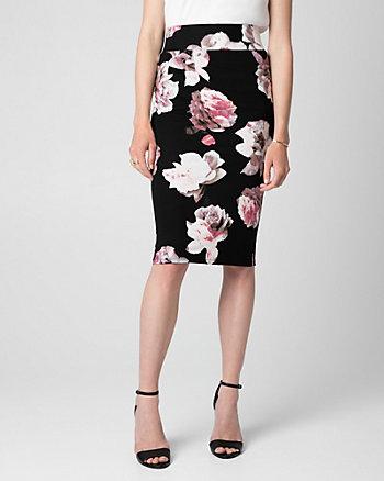 Floral Print Jersey High Waist Midi Skirt