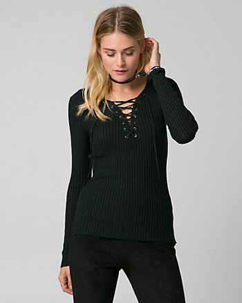 Tweed Lace-Up V-Neck Sweater