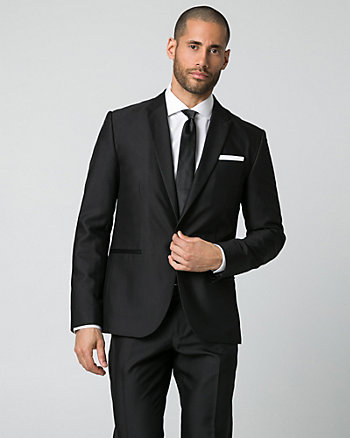 Shiny Herringbone Slim Fit Blazer