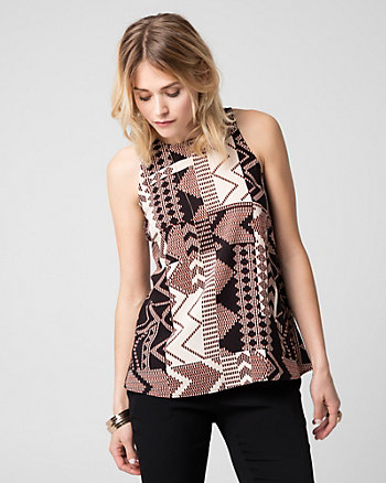 Printed Challis Crew Neck Blouse