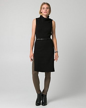 Rib Viscose Blend Funnel Neck Slit Tunic