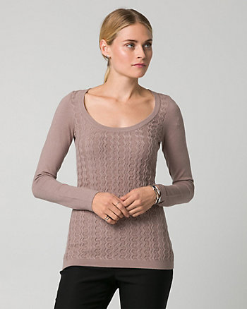 Textured Viscose Blend Scoop Neck Sweater