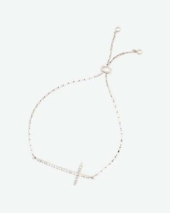 Gemmed Cross Bracelet