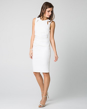 Ponte Boat Neck Shift Dress
