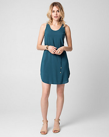 Challis Scoop Neck Tunic Dress