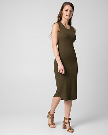Cut & Sew Knit Scoop Neck Midi Dress