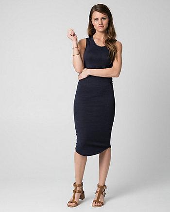 Cut & Sew Knit Scoop Neck Midi Dress