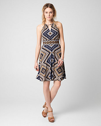 Scarf Print Slub Knit Halter Dress