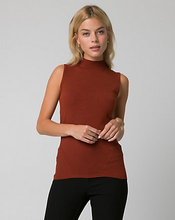 Viscose Blend Mock Neck Sweater Tank