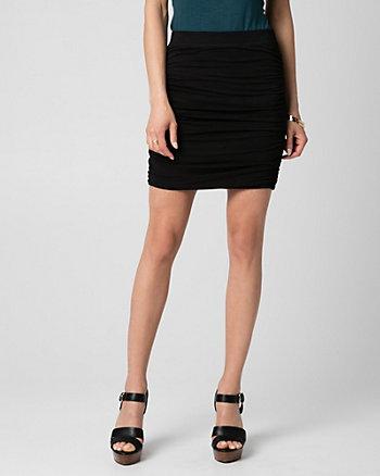 Slub Jersey Ruched Mini Skirt