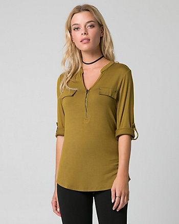 Viscose Blend V-Neck Top