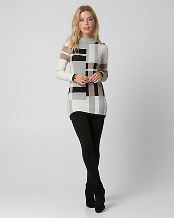 Check Print Viscose Blend Sweater