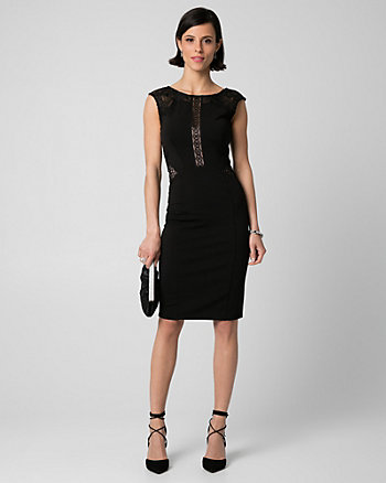 Lace & Ponte Crew Neck Shift Dress
