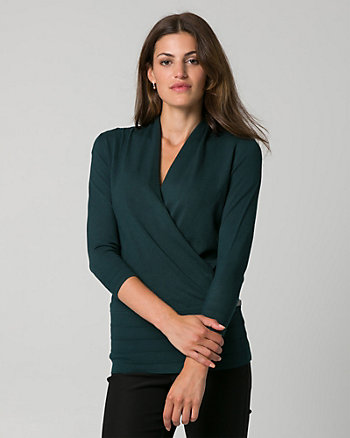 Viscose Blend Faux Wrap Sweater
