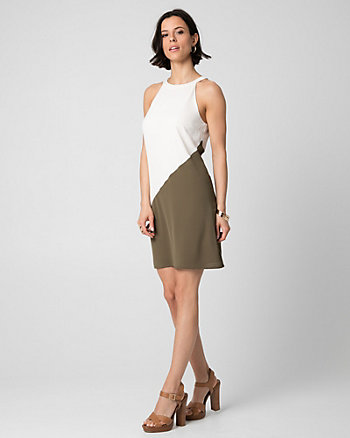 Colour Block Crêpe Halter Dress