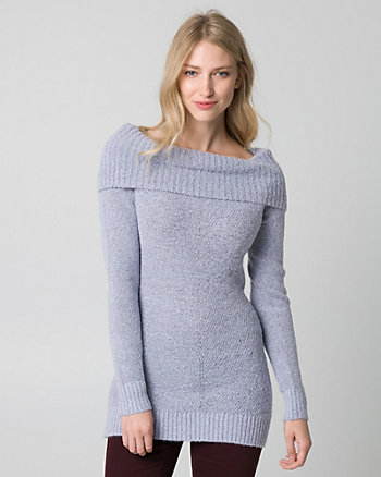 Bouclé Foldover Neck Tunic Sweater