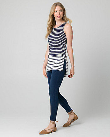 Stripe Jersey Scoop Neck Slit Tank Top