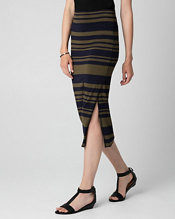 Stripe Jersey Asymmetrical Midi Skirt