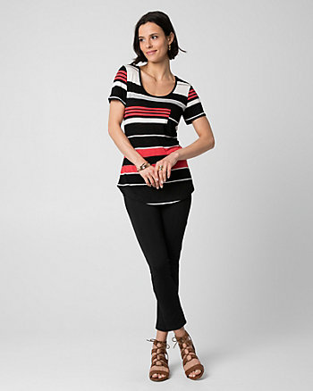 Stripe Jersey Scoop Neck T-Shirt