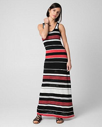 Stripe Jersey Scoop Neck Maxi Dress