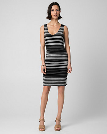 Stripe Jersey V-Neck Tunic Dress