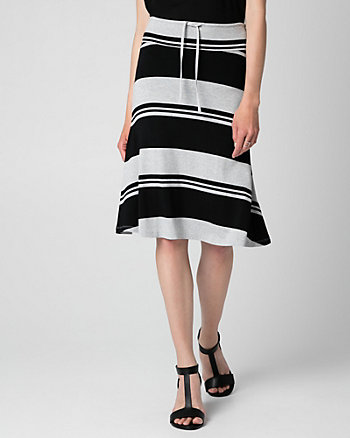 Stripe Jersey Midi Skirt